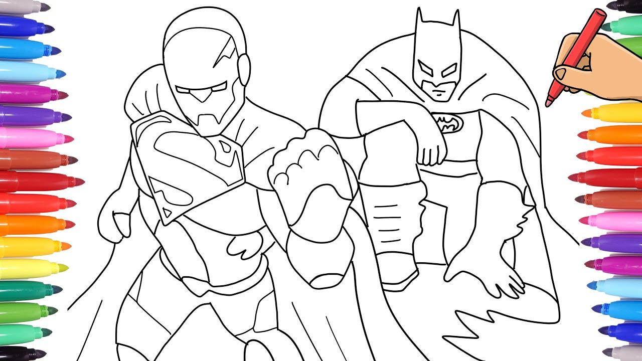 Superman X Batman Coloring Pages Coloring Batman Vs Superman Cyborg Superheroes Coloring Pages Youtube