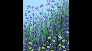 Acrylic Painting Violet Wildflowers