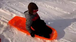 Family Fun Snow Day, Sledding!  Playing hooky with SuperTwins TV