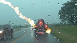 Lightning Strikes a Moving Car