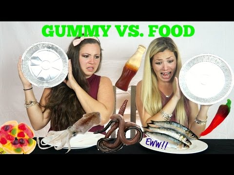 GUMMY FOOD VS. REAL FOOD CHALLENGE (WARNING!!!!!!!)