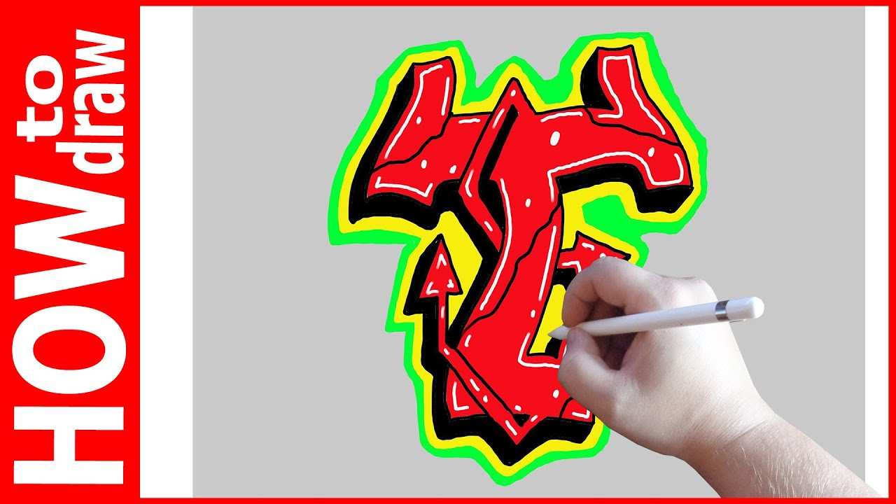 How To Draw Graffiti Letters T No 1