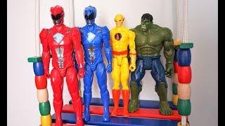 Colors Power Ranger Heros Dolls Jumping on the Swing Bed - Heroes Nursery Rhymes