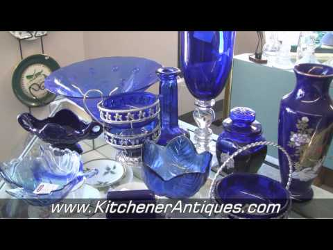 Antique Coloured Glass Dishes. Blue and Green Glass. Kitchen