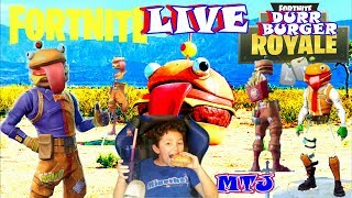 FORTNITE LIVE DURR BURGER ROYALE! w/Fans KID GAMER MinetheJ Beef Boss skins only No Profanity