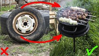 Как сделать мангал из автомобильного диска своими руками