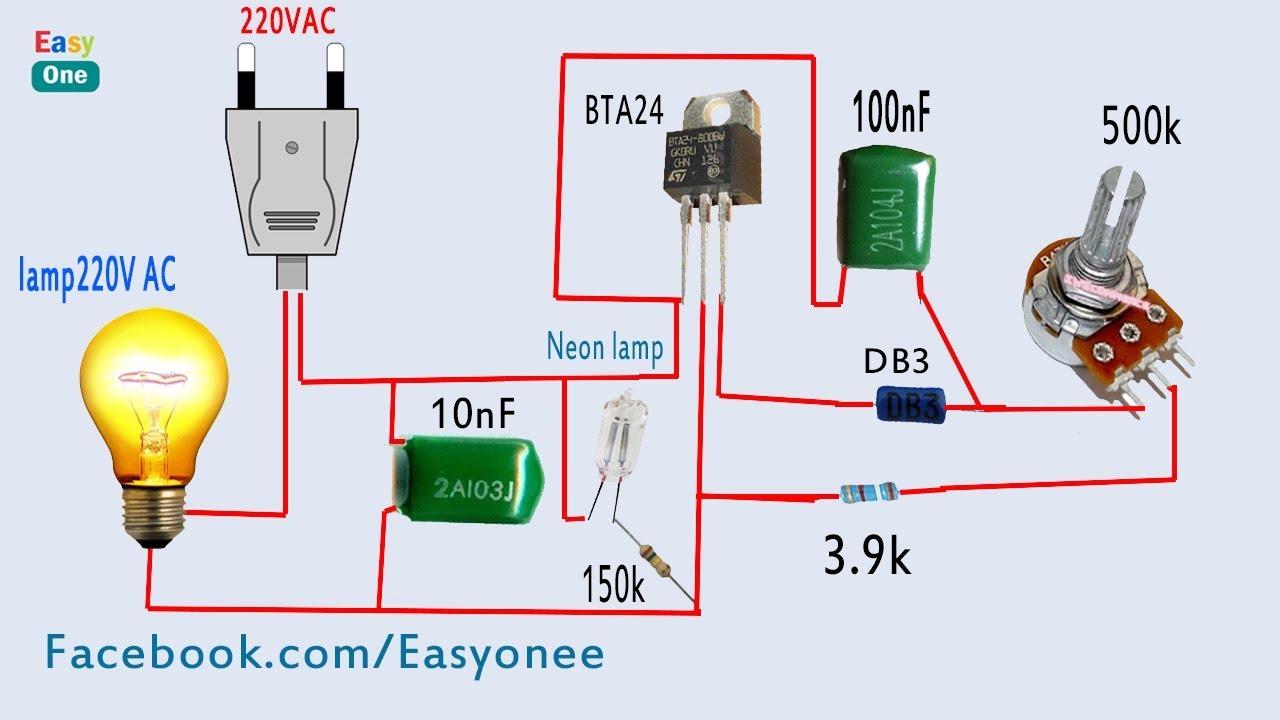 Wiring Diagram For 220v To 110v Converter How To Make Light Dimmer Circuit 220v Ac Using Bta24
