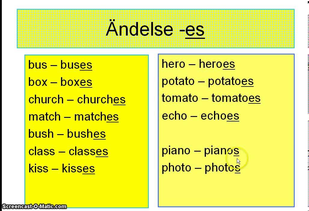 substantiv singular och plural