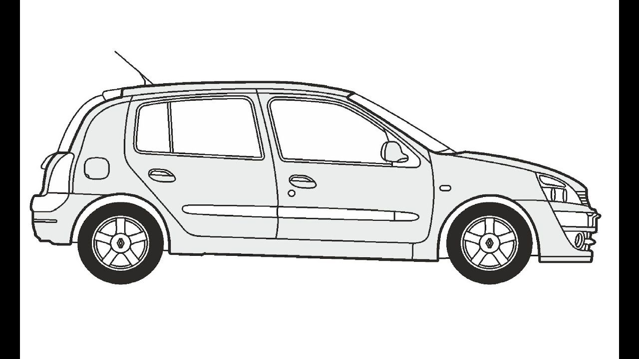 How to Draw a Renault Clio / Как нарисовать Renault Clio