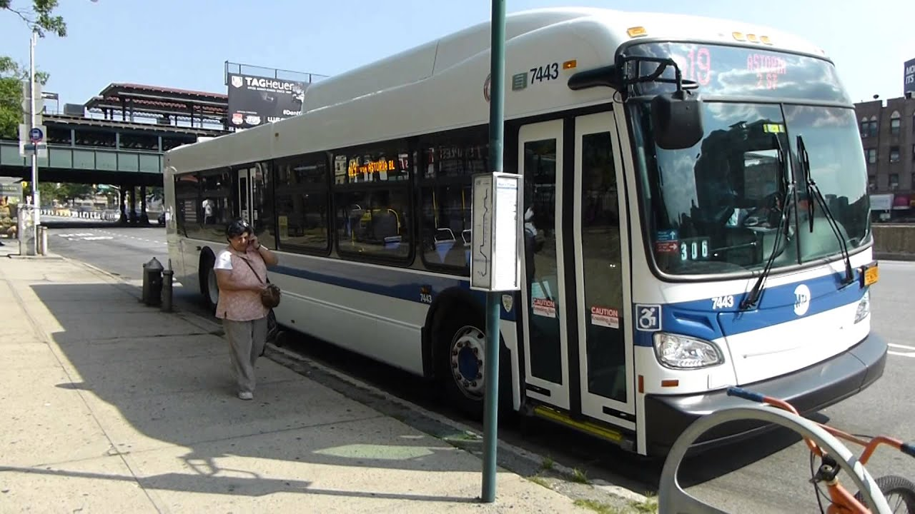 mta bus: 2015 new flyer xd40 xcelsior q19 bus #7443 at 31st st-hoyt