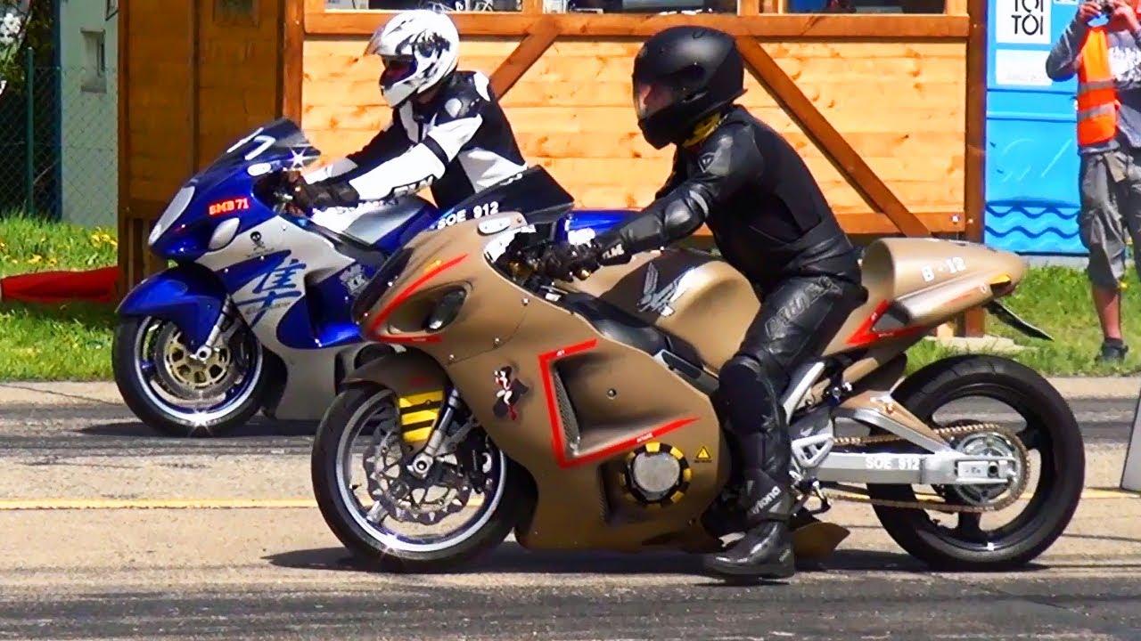 Suzuki Hayabusa vs Hayabusa 1/4 Mile Drag Race Motorrad Rennen ...