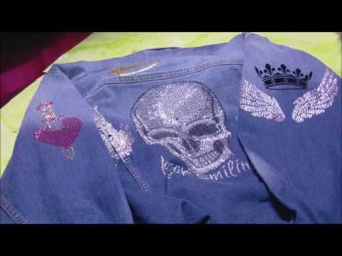 eine jeansjacke mit strass und textilfarben selbst gestalten youtube. Black Bedroom Furniture Sets. Home Design Ideas