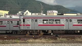 乗務員訓練で使用の、長野電鉄3500系N6編成、端の方で静かに休む3600系L2編成。