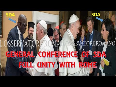 GC SDA Full Ecumenical Unity Destroy Barriers With Rome. Adventist Leader Shakes Hand with Pope.