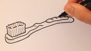Drawing a Cartoon Toothbrush - Desenhando uma Escova de Dentes
