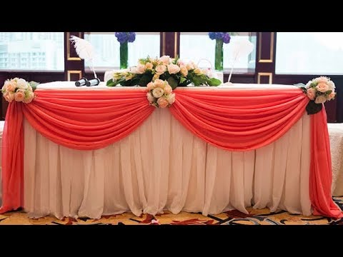 How To Swag Table And Decorate With Flowers / Table Cloth Decoration ( Tutorial )