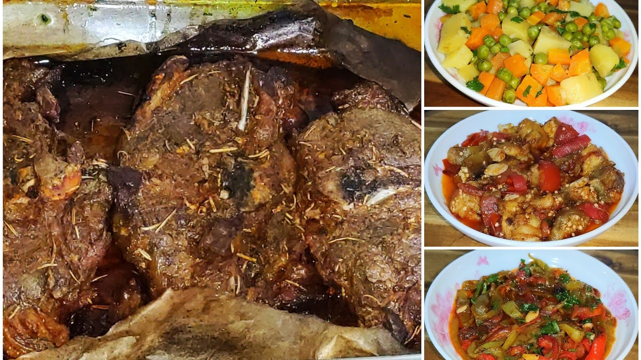 لحم في الفرن بدون قطرة ماء معطر بإكليل الجبل الصحي مع ثلاث مقبلات