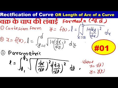 RECTIFICATION OF CURVE- Length of arcs of given curve in hindi( CARTESIAN , PARAMETRIC ,POLAR CURVE)