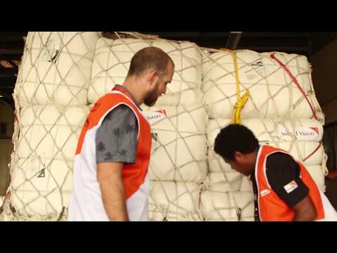 World Vision Highlands earthquake relief supplies arrive in Port Moresby.