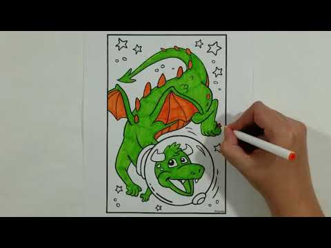 Childrens Outer Space Dragon Coloring Page kids coloring pages coloring videos for kids