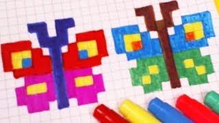 МОИ РИСУНКИ ПО КЛЕТОЧКАМ - БАБОЧКИ- Pixel Art Простые рисунки - животные, насекомые.