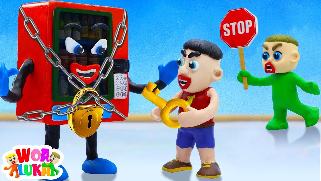 No Luka, Don't Play Hide And Seek In Talking Vending Machine 🔑 Play Doh Cartoon -  WOA Luka Channel