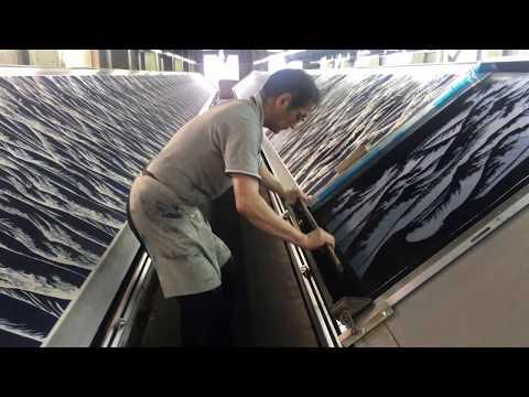 Artisans in Kyoto are Dying Katsushika Hokusai Ukiyoe Pattern on silk by using techniques of Yuzen.