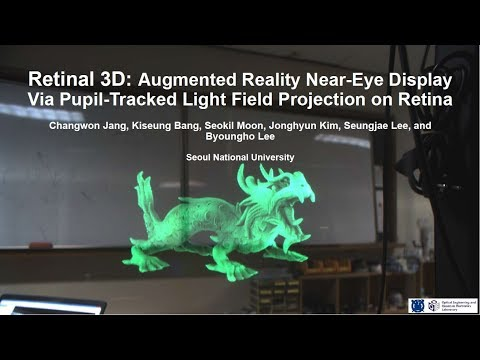 Retinal 3D: Augmented Reality Near-Eye Display Via Pupil-Tracked Light Field Projection on Retina