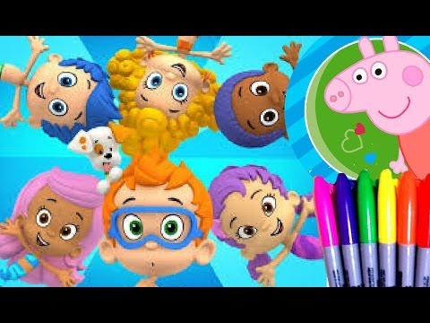 Disney Cartoons Nick Jr Peppa Pig And Bubble Guppies Coloring Book Pages Fun Art For Kids