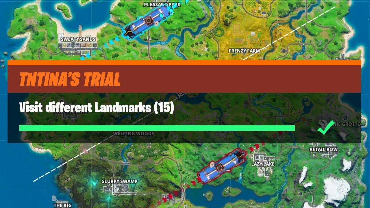 Fortnite Landmarks Challenge Visit Different Landmarks 15 All Locations Guide Fortnite Tntina S Trial Challenges Youtube