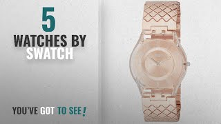 Top 10 Swatch Watches [2018]: Swatch Pink Cushion Rose Gold Dial Stainless Steel Ladies Watch