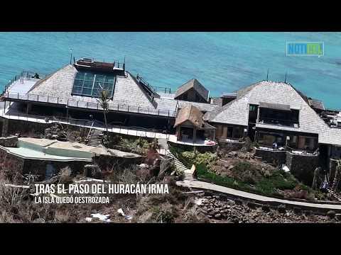 Richard Branson's Necker Island after Hurricane Irma
