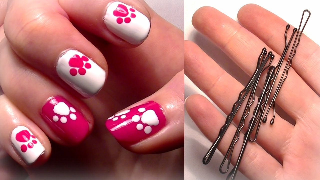 ♥ HELLO KITTY Inspired Nails... Using A Bobby Pin?! Easy Cute Nail Art For  Beginners!   YouTube