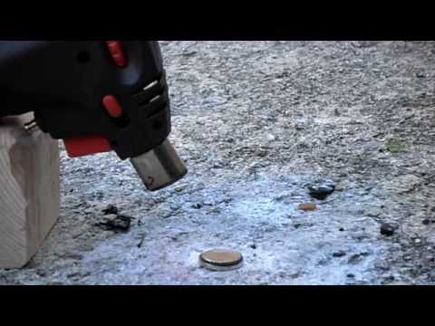Burning Lithium Battery Coin Sized-Exploding Battery