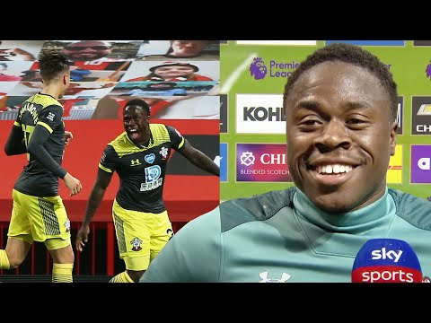 Michael Obafemi reacts to his dramatic last gasp equaliser against Manchester United