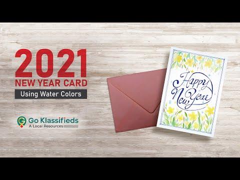 New Year Greeting Card 2021 Tutorial Using Watercolors