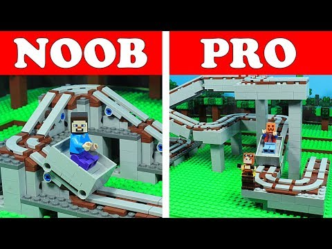 Lego Minecraft NOOB Vs PRO - Rollercoaster Challenge Animation