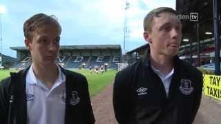 Kieran Dowell and Matthew Pennington on pre-season with the Everton first team