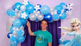 ARCO ORGANICO DE GLOBOS - CUMPLEAÑOS DE FROZEN - decoracion con globos - gustavo gg