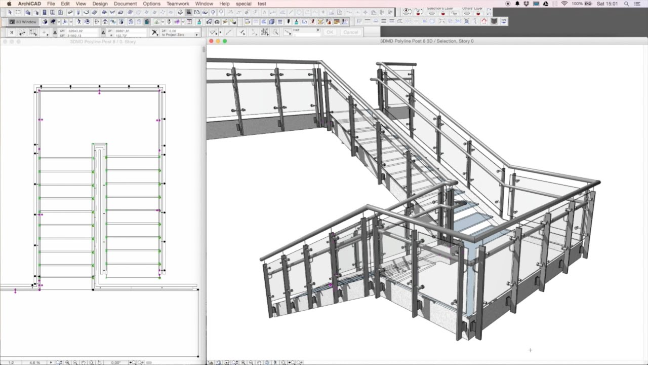 3dmd Railing Archicad Tool Drawing A Railing In Youtube
