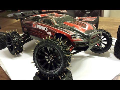 Studded Winter Tires >> Traxxas Mini E-Revo 1/16 VXL winter tires - fun on ice - YouTube