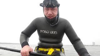 Первые испытания SUP SERF, для подводной охоты зимой . Тест лопастей Тритон, калош SEAC SUB