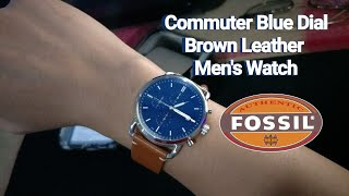 Watch Review: Fossil Commuter Blue Dial Brown Leather Men's Watch | FS5401