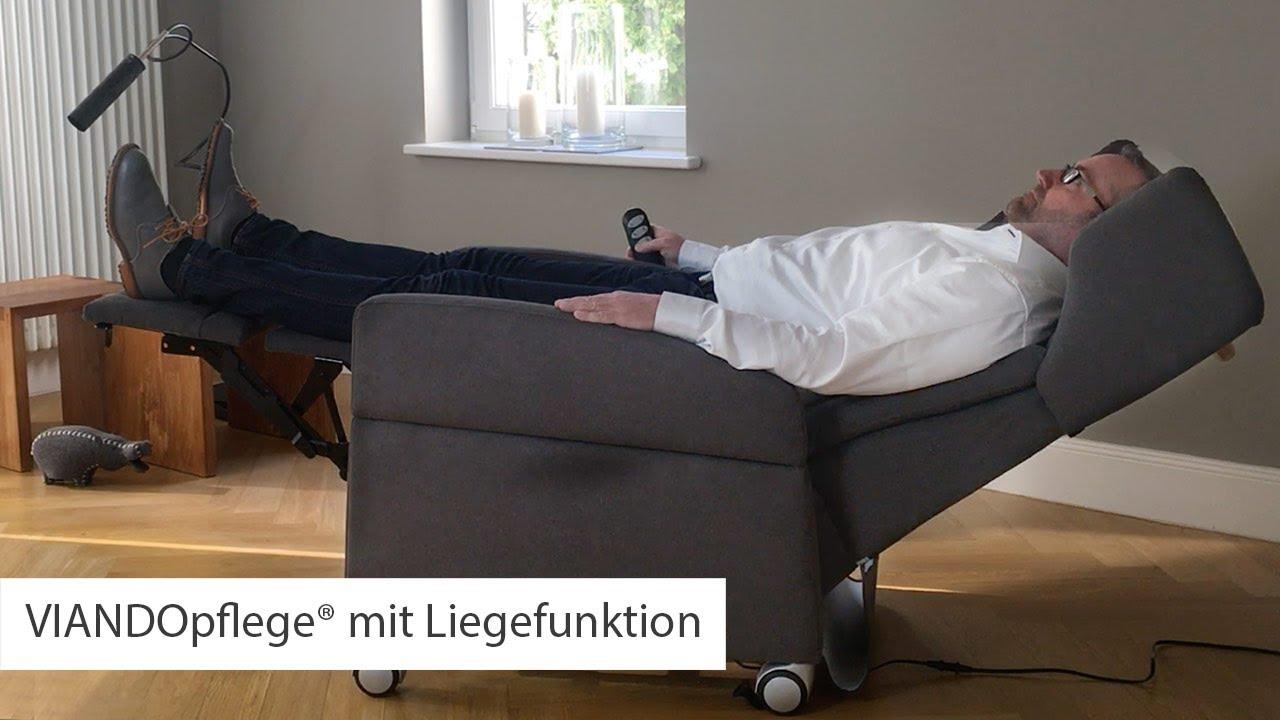 Pflegesessel VIANDO+ Komfort Liegefunktion mit Herz-Waage-Lage - YouTube