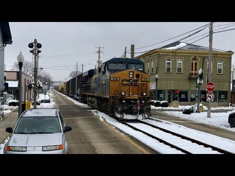 Street Running Train, Push Pull, Truck Inches From Huge CSX Mixed Freight Train!