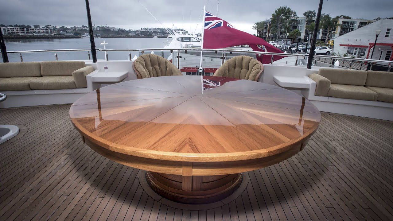 teak expanding round table on a yacht youtube. Black Bedroom Furniture Sets. Home Design Ideas