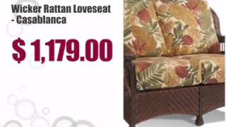 Wicker Rattan Loveseat - Casablanca - wickerparadise.com