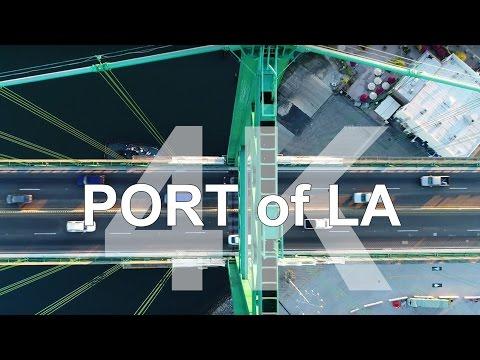 Flying Low over the Vincent Thomas Bridge - Port of LA Tour [4k]