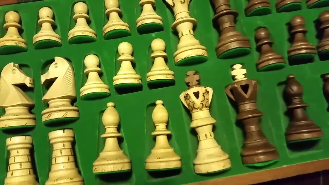 Handmade Chess Set European Ambassador with 21 Inch Board and Hand Carved Chess Pieces WEGIEL