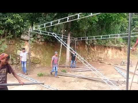 Marquee going up for wedding in Sumatra